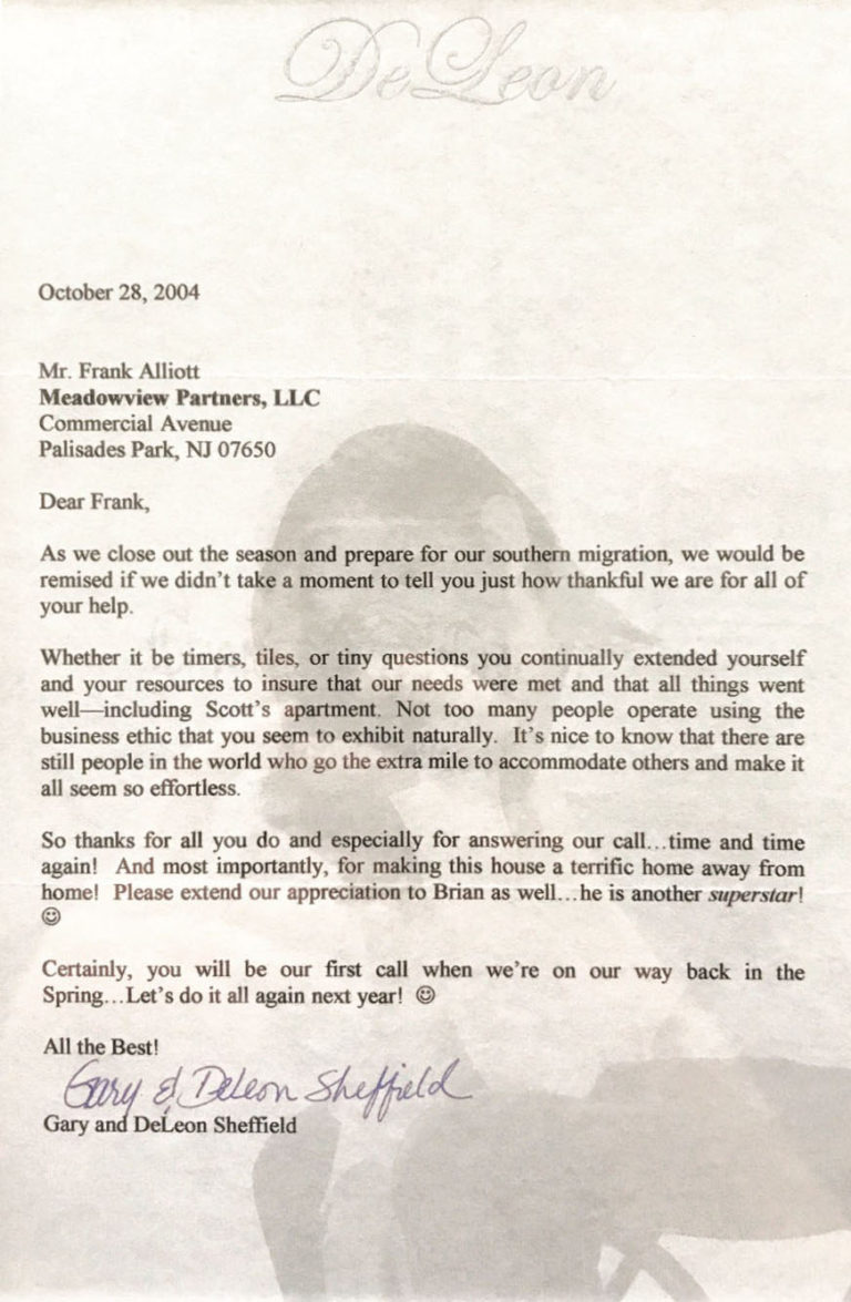 alliotts construction testimonial letter